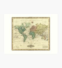 Vintage Map of The World (1823) Art Print