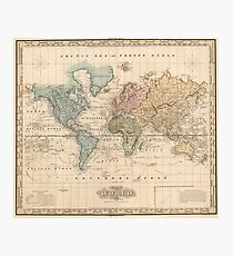 Vintage Map of The World (1823) 2 Photographic Print