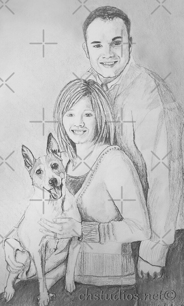Christie & Daniel portrait drawing by Linda Costello Hinchey