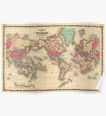 Vintage Map of The World (1860) Poster