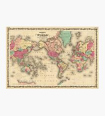 Vintage Map of The World (1860) Photographic Print