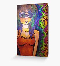 Punk brown eyed girl Greeting Card