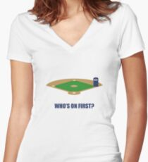 Who's on First? Women's Fitted V-Neck T-Shirt