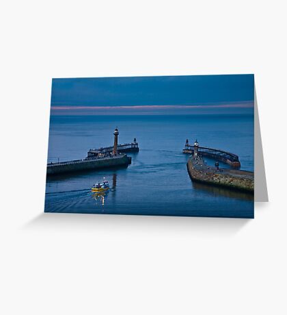 Whitby harbour at dusk Greeting Card