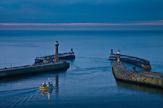Whitby harbour at dusk by Dave Milnes