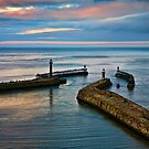Whitby harbour at sunset by David Milnes