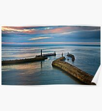 Whitby harbour at sunset Poster