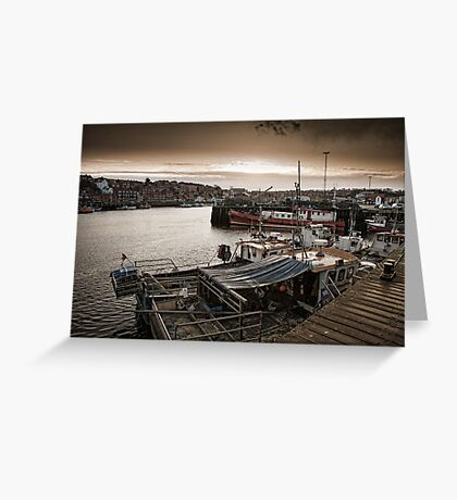 The harbour side at dusk Greeting Card