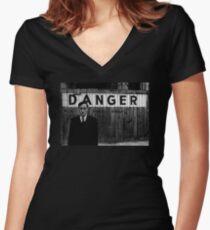 DANGER Women's Fitted V-Neck T-Shirt