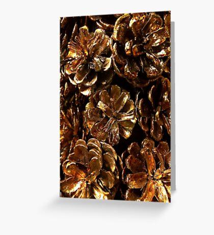 Golden Pine Cones Greeting Card