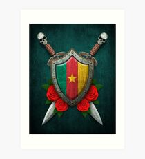 Cameroon Flag on a Worn Shield and Crossed Swords Art Print