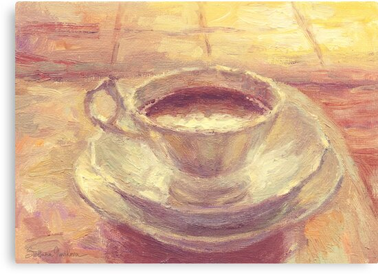 Coffee Cup Still Life Oil Painting Canvas Prints By Svetlana