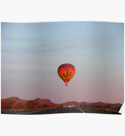 Hot Air Balloon Over Care Free Highway Poster