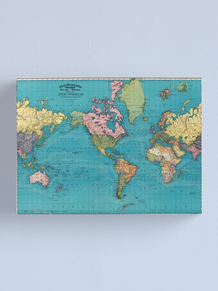 Alternate view of Vintage Map of The World (1897) Canvas Print