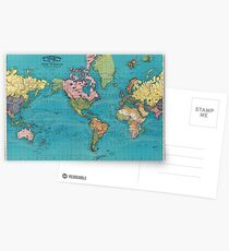 Vintage Map of The World (1897) Postcards