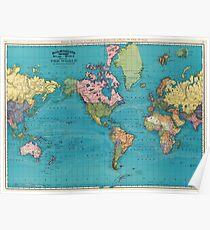 Vintage Karte der Welt (1897) Poster