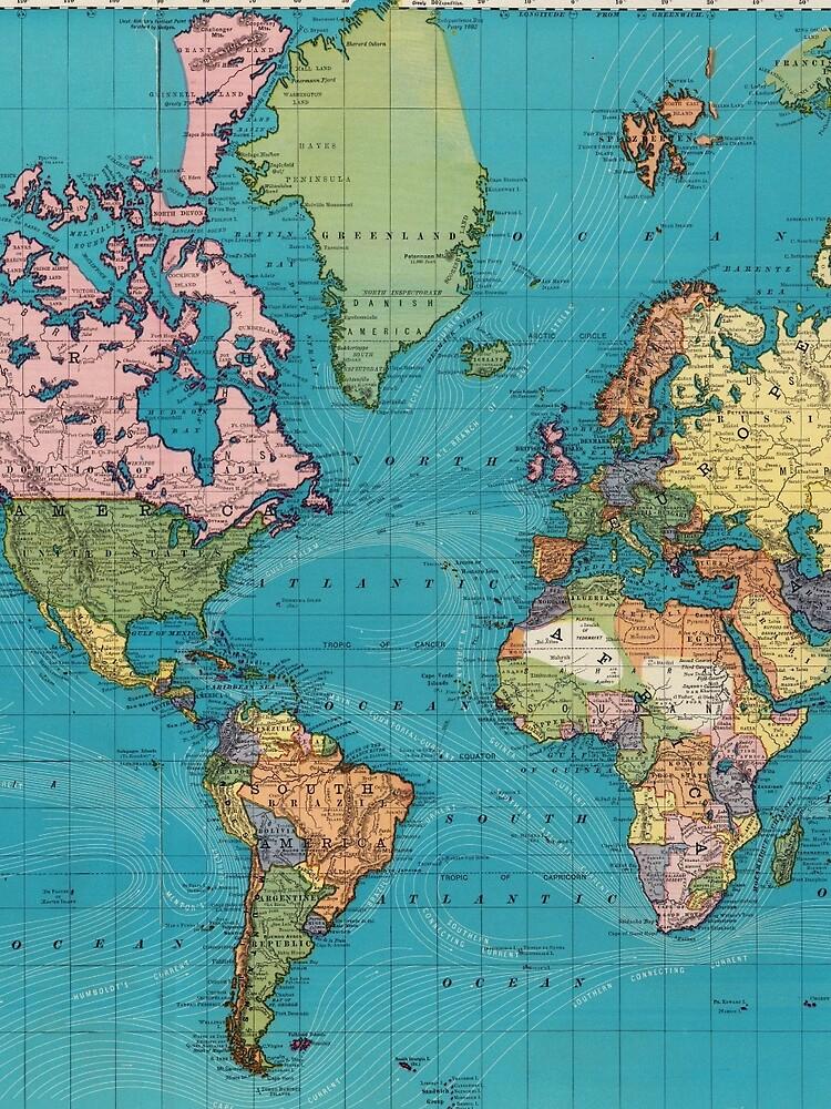 Vintage Map of The World (1897) by BravuraMedia