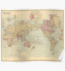 Vintage Map of The World (1901) Poster