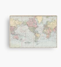 Vintage World Map (1901) Canvas Print