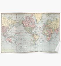 Vintage World Map (1901) Poster