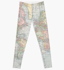 Vintage World Map (1901) Leggings