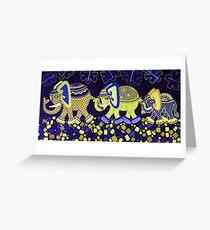 'Elephant Conga Line' - Digitally Altered Colour Scheme Greeting Card