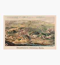 Vintage Pictorial Map of Yellowstone Park (1904) Photographic Print