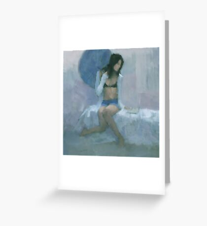 The Blue Parasol Greeting Card