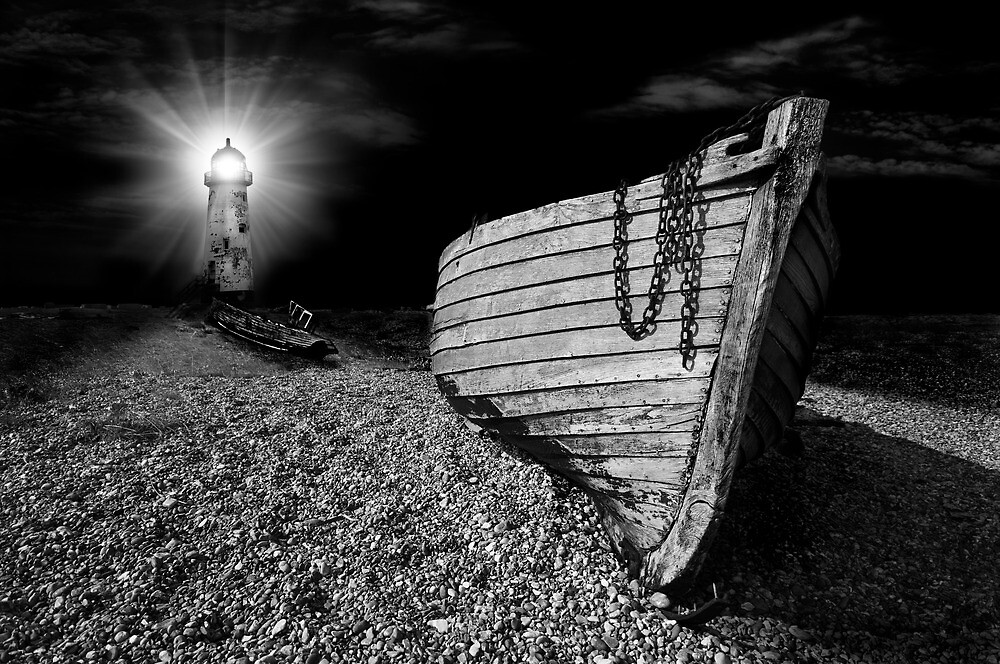 fishing boat graveyard after dark by meirionmatthias