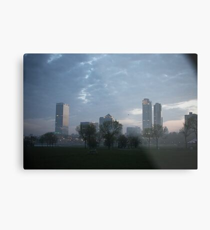 Milwaukee Cityscape with Clouds Metal Print