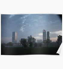 Milwaukee Cityscape with Clouds Poster