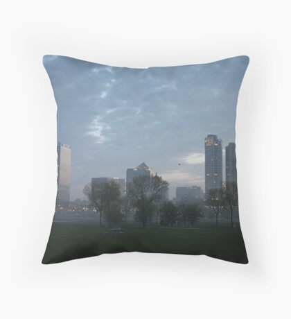 Milwaukee Cityscape with Clouds Throw Pillow