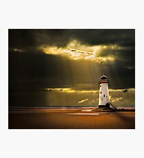 talacre lighthouse with sunbeams Photographic Print