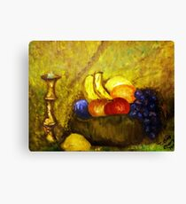 FRUIT AND CANDLE STILL LIFE Canvas Print