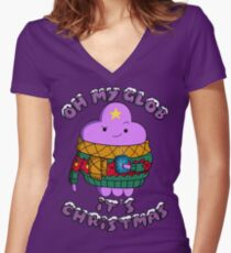 Lumpy Space Princess - Oh My Glob It's Christmas Women's Fitted V-Neck T-Shirt