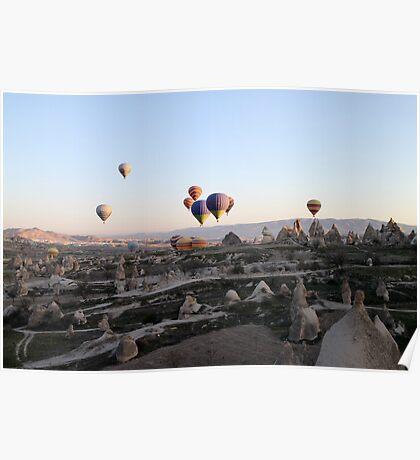 Hot air balloons over Cappadocia Poster
