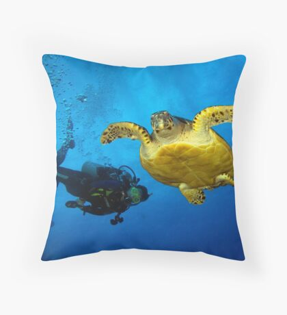 Dancing With Sea Turtles Throw Pillow
