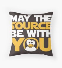 May The Source Be With You - Tux Edition Throw Pillow