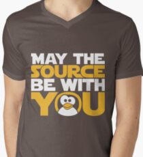 May The Source Be With You - Tux Edition Men's V-Neck T-Shirt