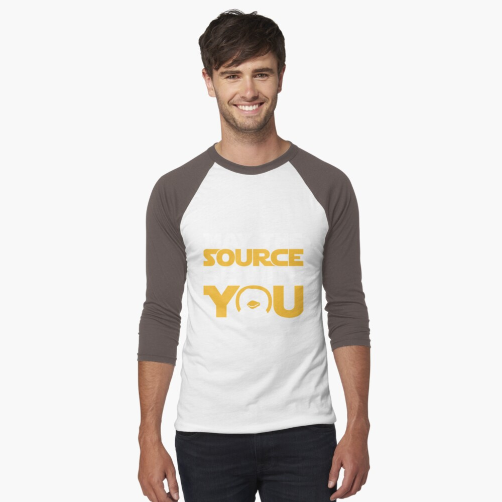 May The Source Be With You - Tux Edition Men's Baseball ¾ T-Shirt Front