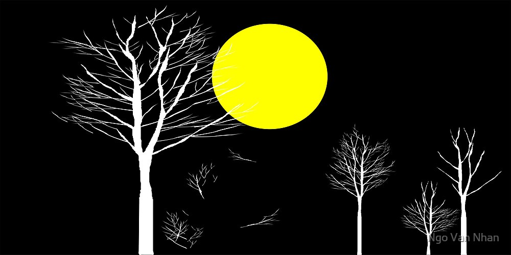 Trees and Full Moon Night by Nhan Ngo
