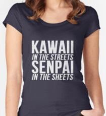 Kawaii In The Streets Senpai In The Sheets Anime Cosplay Japan T Shirt Women's Fitted Scoop T-Shirt