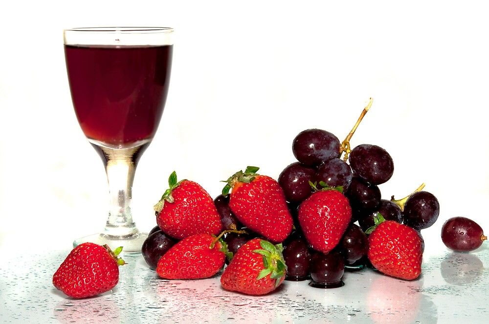 Wine red in a glass and fruit. by larisa  fedotova