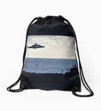 Air Sea Rescue At Lyme, Dorset. UK Drawstring Bag