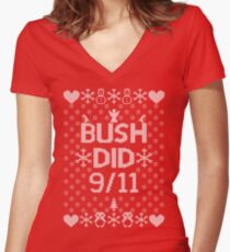 BUSH DID 9/11 Women's Fitted V-Neck T-Shirt