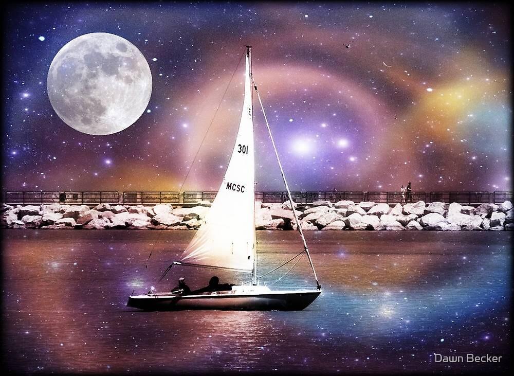 Moonlight sailing © by Dawn Becker