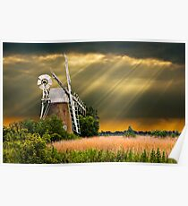 windmill with sunbeam sky Poster