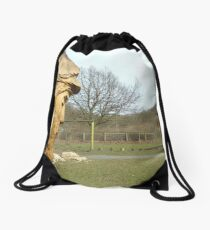 Carved man at Dalby Forest Drawstring Bag