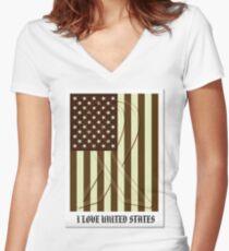 United States Flag Vintage T-shirt Women's Fitted V-Neck T-Shirt