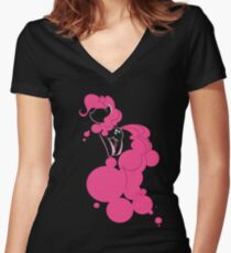 Bubbly Pink Women's Fitted V-Neck T-Shirt